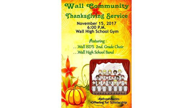 Wall Community Thanksgiving Service Nov. 15, 2017