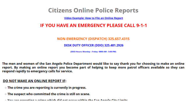 San Angelo Police Department offers convenience of Online Incident Reporting
