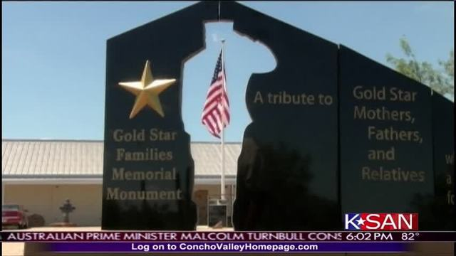 Gold Star Families Memorial in Bronte, Texas, with flag framed in the cutout of a soldier. Photo from KSAN TV